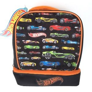 Hot Wheel Kids Black Cars Lunch Pail Or Toy Bag